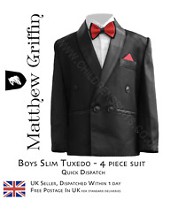 BOYS Fittted 4 PIECE TUXEDO SUIT World Book Day Prom Party Suit Kids Tuxedo Suit