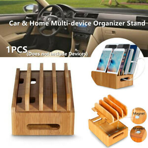 Car Office Bamboo Multi-device Organizer Stand Charging Station for Phone Tablet