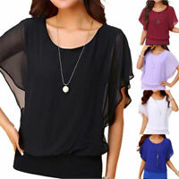 Women's Blouse Chiffon Loose Crew Neck Casual Sleeve Batwing Short Top T-Shirt
