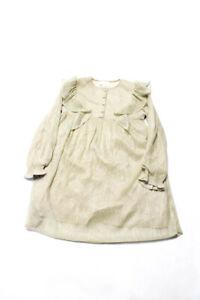 Louis Louise Girl Ruffle Metallic Striped Pleated Ariel Dress Beige Gold Tone 10