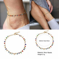 Fashion Colorful Crystal Anklets For Women Link Chin Boho Tassel Foot Chain New
