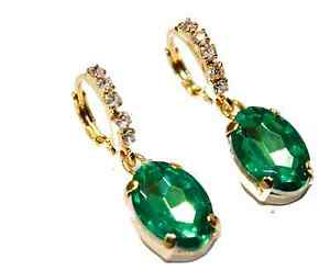 Oval 18k Gold Plated Earring with CZ - Blue, Red, Green , Clear & Orange
