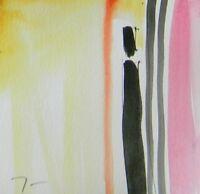 JOSE TRUJILLO - ORIGINAL Watercolor Painting Abstract PINK YELLOW BLACK SIGNED