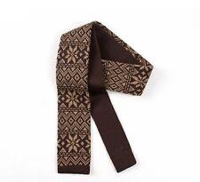 Mens Knitted Tie - Fair-Isle Design - Skinny Slim Knit Tie