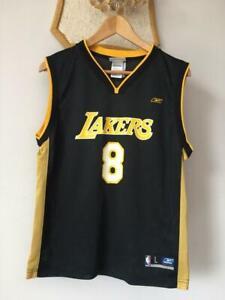 LOS ANGELES LAKERS NBA BASKETBALL JERSEY REEBOK KOBE BRYANT #8 BLACK YOUTH (L)