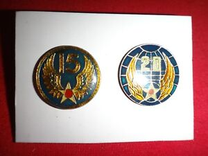 Set Of 2 Lapel Pins: FIFTEENTH AIR FORCE Insignia + TWENTIETH air force Insignia