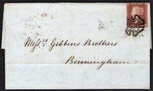 1841 1D RED 4 MARGINS LONDON MALTESE CROSS 1843 TO BIRMINGHAM