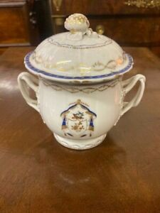 Antique Chinese Export Porcelain Armorial Sugar Bowl & Lid 19th c.