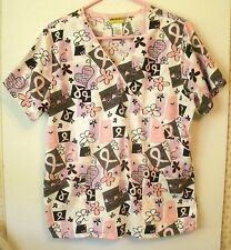 Pink Ribbons Womens Scrub Top Breast Cancer Awareness Believe Hope L Large