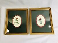 "Pair Of Botanical Prints Rose Rosa Double Matted 9x11"" Gold Wood Frames Classic"