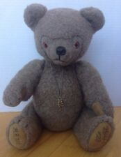 """Vintage Jointed Teddy Bear Wool Suede Paws Necklace 16"""""""