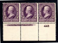US Scott 268 Plate Strip of 3 Mint Non-Hinged 3 cent Jackson from 1895