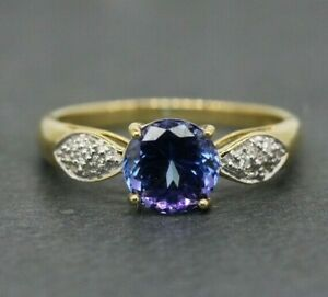 18ct Yellow Gold 1.00ct Tanzanite & Diamond Solitaire Ring Size N, US 6 3/4