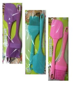 2PC SILICONE  BRUSH SPATULA SET COOKWARE BAKEWARE BAKING COOKING BASTING PASTRY