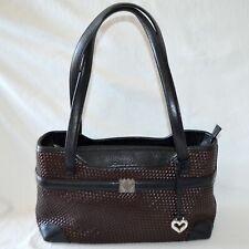 Brighton Satchel Black Brown Woven Leather Shoulder Bag Western Purse C780595