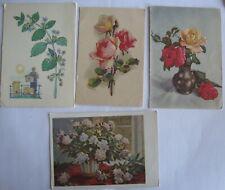 4 POSTCARD Russian USSR Flowers.