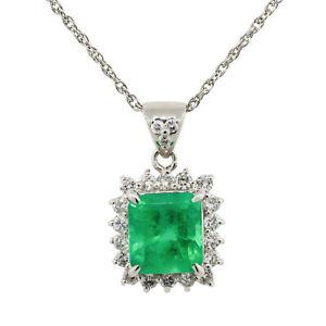 Platinum 2.07ct Emerald With Diamond Halo Pendant Necklace