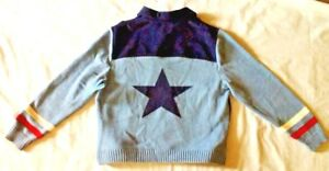 Norton Studio Blue Sweater ultra suede & Knit sleeves, back Dallas Star on back