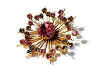 Bijou alliage doré broche rosace vintage cristaux roses et blancs brooch