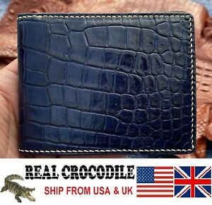 Alligator Skin Wallet Men Blue Genuine Crocodile Leather Bifold Wallet RFID
