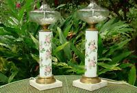 Pair VINTAGE BOUDOIR TABLE LAMPS Candlestick Porcelain Milk Glass ROSES Marble