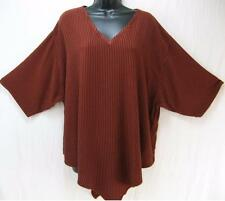 TIENDA HO~Terracotta Stripe~MOROCCAN COTTON~S/S Monsoon Pointed Tunic Top~OS