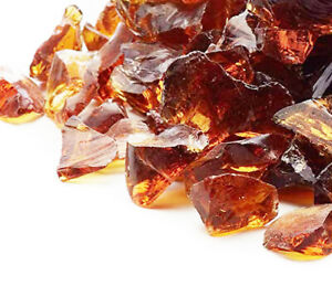 Amber Fire Glass 1kg (2.2lb) - For Fire Pits, Gas Fires And Ethanol Burners