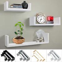 Set of 3 Floating Shelves Hanging Storage Wall Shelf Mounted Display Unit Decor