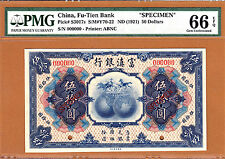 China, Fu-Tien Bank 50 Dollars ND (1921) SPECIMEN Pick-S3017s GEM UNC PMG 66 EPQ