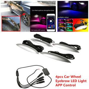 4x Car SUV Fender Wheel Eyebrow Colorful Music App Control LED Ambient Light Kit