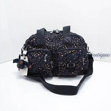 NWT Kipling HB6969 Defea Large Satchel Shoulder Handbag Nylon Golden Night Blue