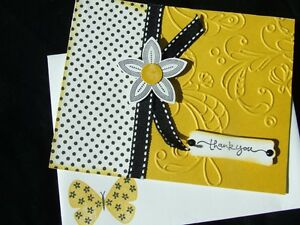 Handmade THANK YOU Card EMBOSSED Using Stampin Up Flight of the Butterfly