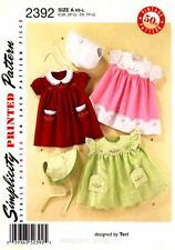 Simplicity Pattern 2392  Vintage Baby girl clothes Dress Bonnet XS-L embroidery