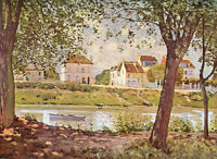 Stunning Oil painting Alfred Sisley - Village on the bank of the Seine canvas