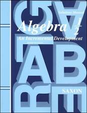 Saxon Algebra 1/2 Solutions Manual 3rd Edition Grade 8 by John H. Saxon Jr. NEW!
