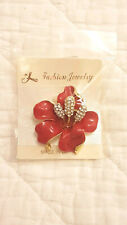 Red Orchid Hibiscus Flower Brooch Crystal Stone Gold Plated Sparkle Pin Gift NEW