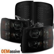 Black Smoked 2007-2013 Silverado Pickup Truck Headlights + LED Tail Lights Lamps