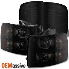 Fit Black Smoked 2007-2013 Silverado Pickup Truck Headlights + LED Tail Lights