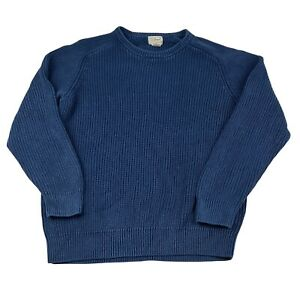 L.L. Bean Jumper Adult Large Blue Chunky Knit Pullover Sweater