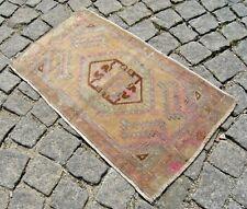 Vintage Doormat Rug 16'' X 28'' Anatolian Muted Dye Low Pile Oushak Area Rug