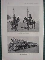 1914 WWI WW1 Stampa ~ Indiano Esercito Lancieri ~ Camel Corps Da Bikaner
