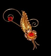 VINTAGE ART NOUVEAU 12Kt GOLD ON STERLING RUBY RED FACETED INSERTS  BROOCH  PIN