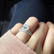 Shank Engagement Ring Sets In 925 Silver 3.40 Ct White Round Cut Diamond Split