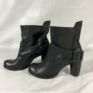 Modern Vintage Leather Ankle Boots Size 6 EUR 36 Black Italian Leather