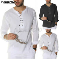 Mens Long Sleeve V-Neck Lace Up T-shirts Casual Slim Fit Muscle Tee Shirt Blouse