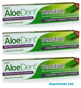 Aloe Dent Sensitive AloeVera Fluoride Free Toothpaste 100 ml X 3