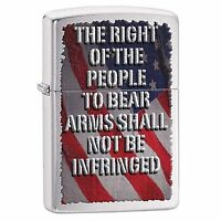 Zippo Windproof Brushed Chrome Lighter, Right To Bear Arms, # 28641, New In Box