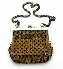 Edwardian Kid Leather Linen Purse Hand Beaded Antique Bag For Repair Black Brown