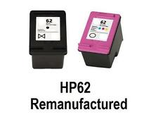 2x REM HP62 Ink Cartridges BLACK+COLOUR for Envy5640 Envy7640 Officejet 5740