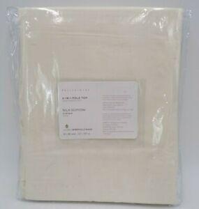 "Pottery Barn Dupioni Silk Cotton Lined Drape Panel Curtain Ivory 50x 96"" #H130"